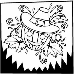 Pumpkin In Hat Coloring Sheet