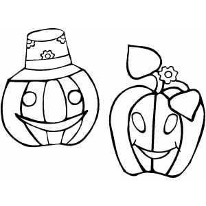 Pumpkins Couple Coloring Sheet