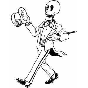 Skeleton In Suit Coloring Sheet