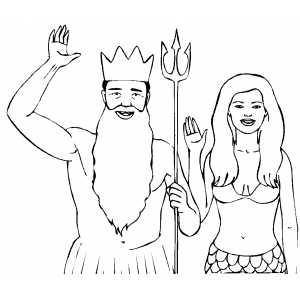 Triton And Mermaid Costumes Coloring Sheet