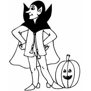 Vampire And Pumpkin Coloring Sheet