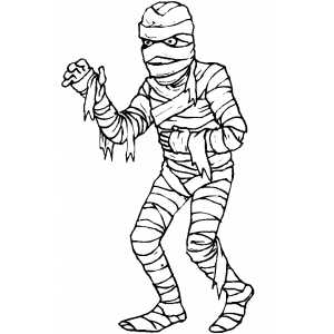 Walking Mummy Coloring Sheet