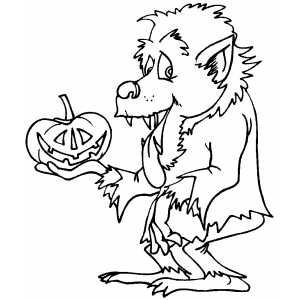 Werewolf With Pumpkin Coloring Sheet