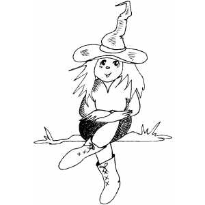 Witch Girl Costume Coloring Sheet