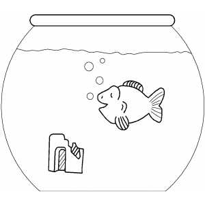 Goldfish In Aquarium Coloring Sheet