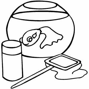 Single Goldfish In Aquarium Coloring Sheet