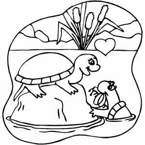 Turtles In Love Coloring Sheet