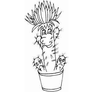 Cartoon Cactus Coloring Sheet