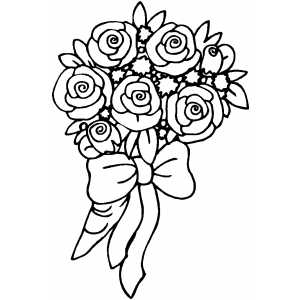Roses Bouquet With Bow Coloring Sheet