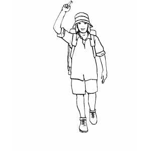 Hiker Woman Coloring Sheet