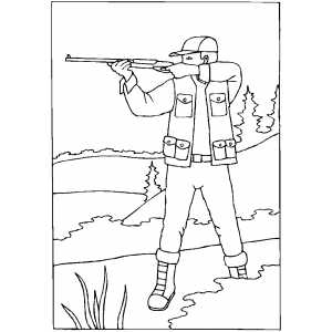Hunter Shooting Coloring Sheet