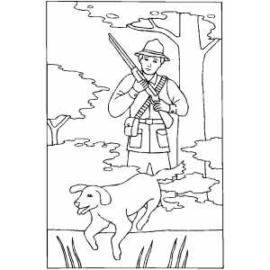 Hunter With Gun And Dog Coloring Sheet
