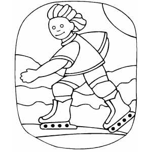 Inline Skating At Mountains Coloring Sheet