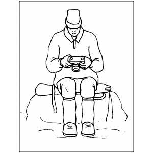 Man At Mountain With Camera Coloring Sheet