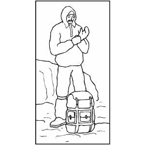 Man Resting On Mountain Coloring Sheet
