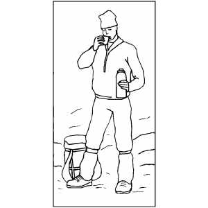 Mountain Climber Drinking Coloring Sheet