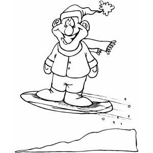 Smiling Snowboarder Coloring Sheet
