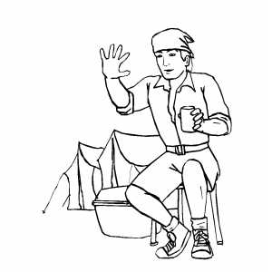 Tourist Wave Hello Coloring Sheet