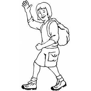 Waving Hiker Coloring Sheet