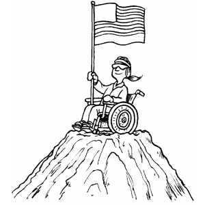 Woman On Mountain With Flag Coloring Sheet