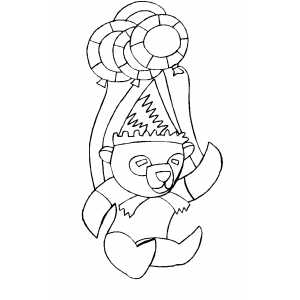 Bear And Balloons Coloring Sheet