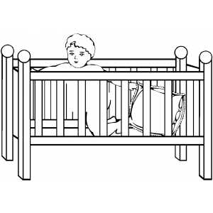Boy In Crib Coloring Sheet
