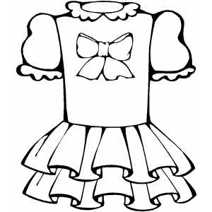 Dress With Bow Coloring Sheet
