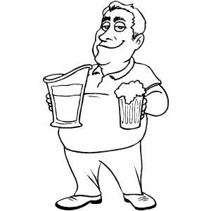 Guy With Beer Coloring Sheet