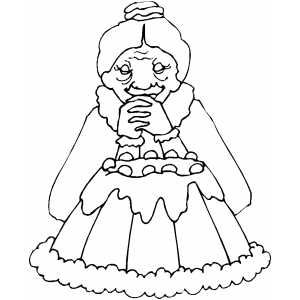 Old Woman And Cake Coloring Sheet