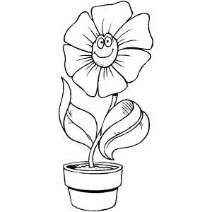 Cartoon Smiling Flower Coloring Sheet