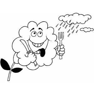 Thirsty Flower Waiting For Rain Coloring Sheet