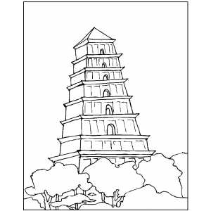Aztec Temple Coloring Sheet