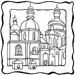 Christian Buildings Coloring Sheet