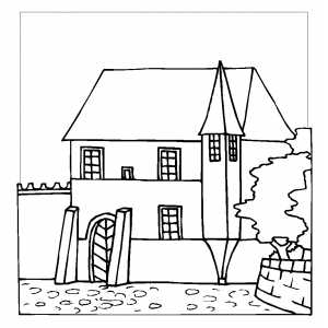 Old Style Building Coloring Sheet