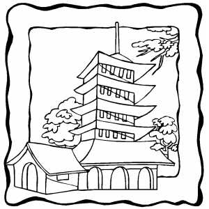Pagoda Over The Trees Coloring Sheet