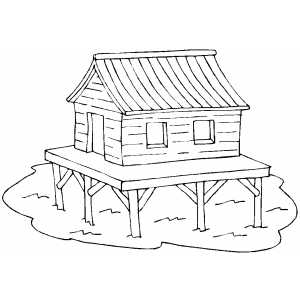 Stilted Dwelling Coloring Sheet
