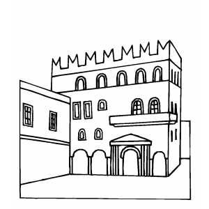 Stone Building Coloring Sheet