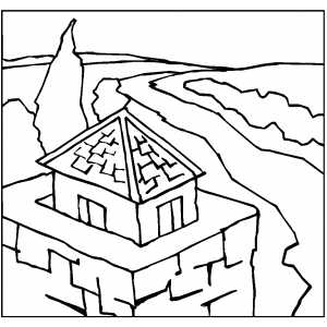Tower On The Road Coloring Sheet