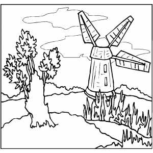 Windmill Coloring Sheet