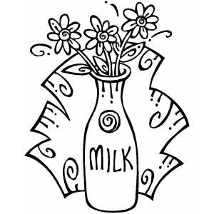Flowers In Milk Jug Coloring Sheet