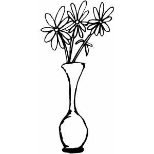 Three Flowers In Vase Coloring Sheet