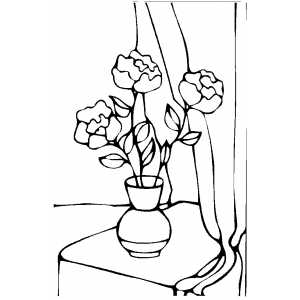 Three Roses In Vase Coloring Sheet
