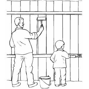 Father And Boy Painting Fence Coloring Sheet