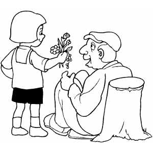 Coloring pages about gving ~ Girl Giving Flowers To Old Man Coloring Sheet