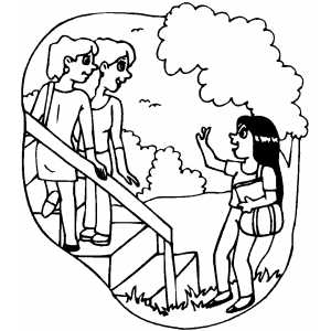 Girls Waving Coloring Sheet
