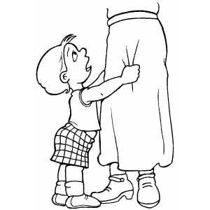 Kid Pulling Skirt Coloring Sheet