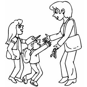 Kids Greeting Mom Coloring Sheet