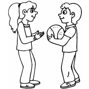 Kids With Basketball Coloring Sheet