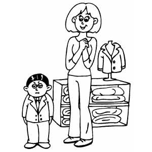 Sad Boy Shopping Coloring Sheet