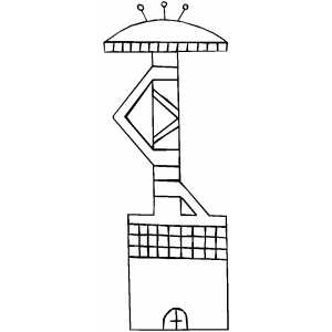 Alien Building Coloring Sheet